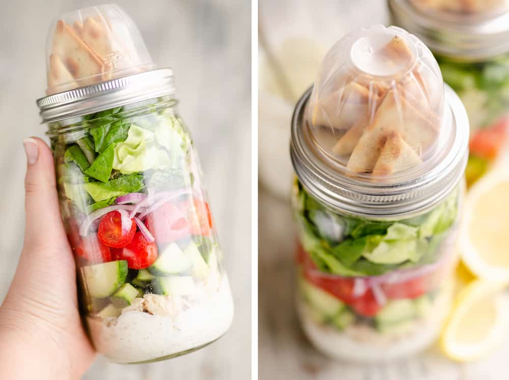 Creamy Greek Chicken Salad in a Jar held in hand