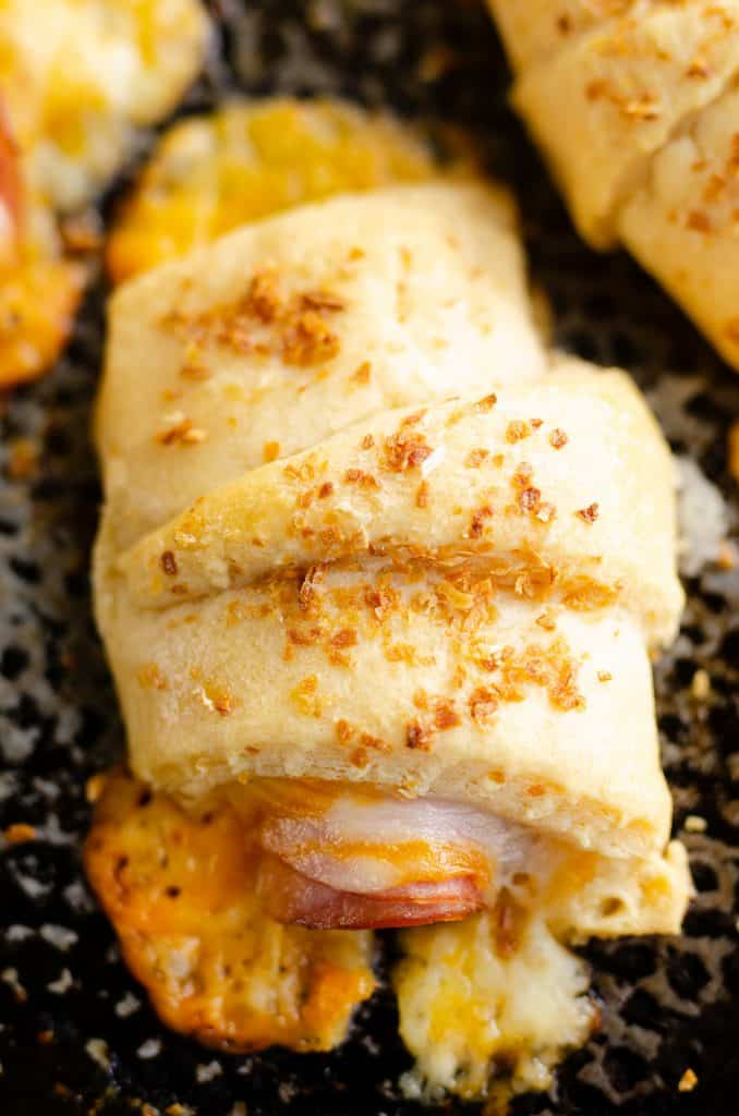 Hot Ham & Cheese Roll Ups with cheesy filling