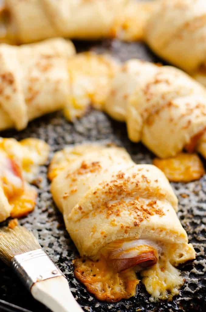 Hot Ham & Cheese Roll Ups on baking pan