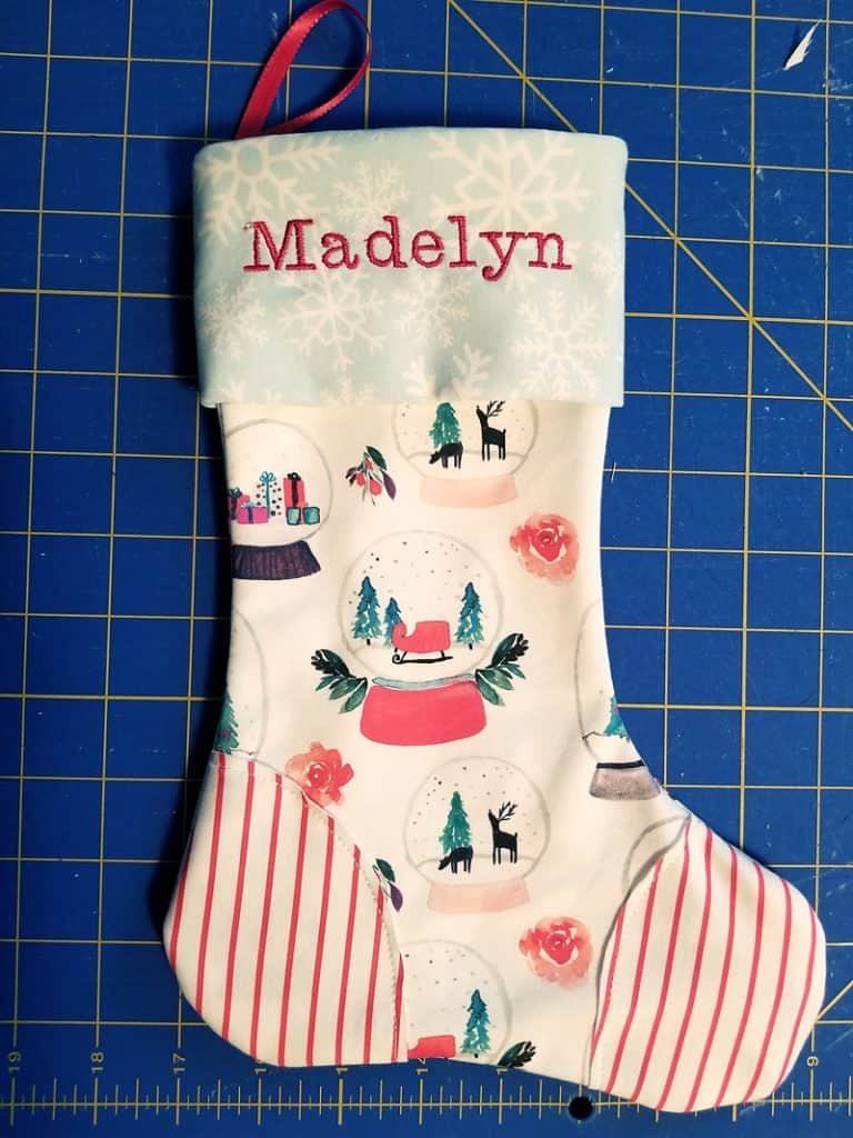 finished personalized Christmas stocking