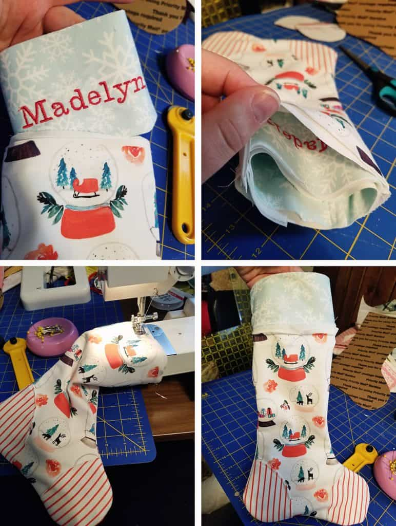 attaching cuff to christmas stocking tutorial