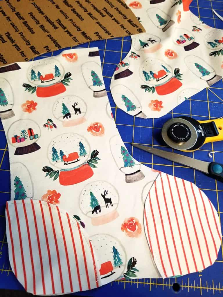 christmas stocking with toe patch fabric pattern pieces