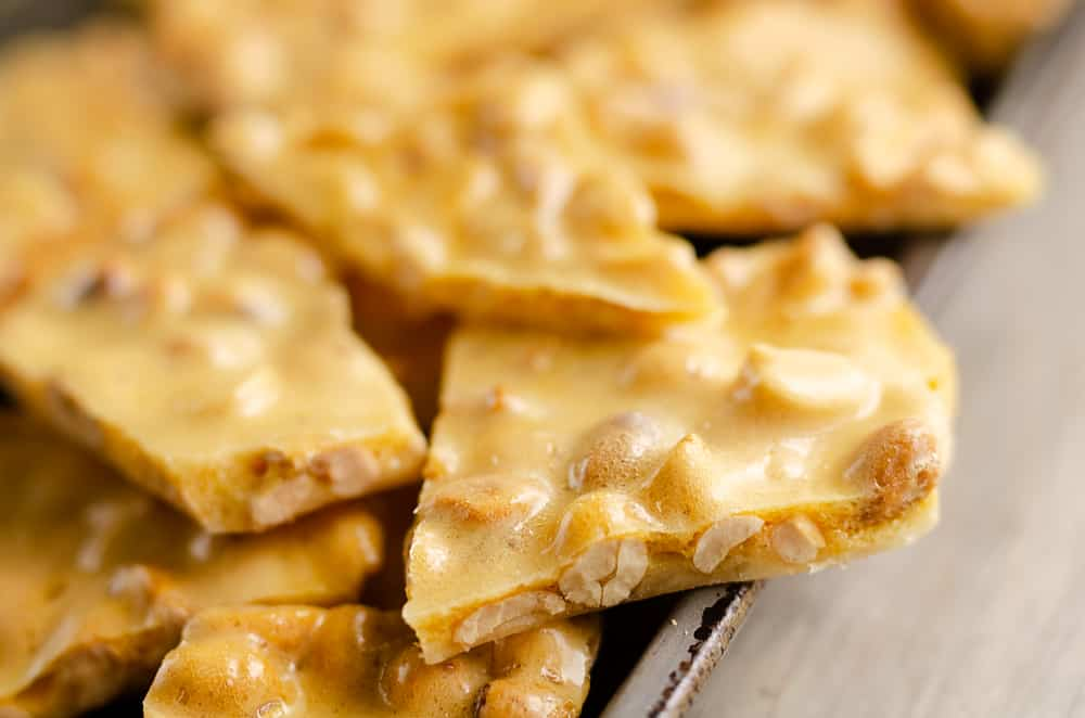 Microwave peanut brittle served on pan