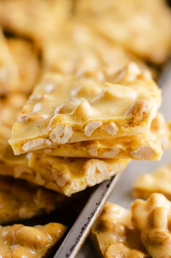 Microwave peanut brittle stack of candy