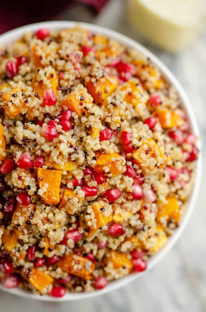 Pomegranate Squash Quinoa Salad in bowl
