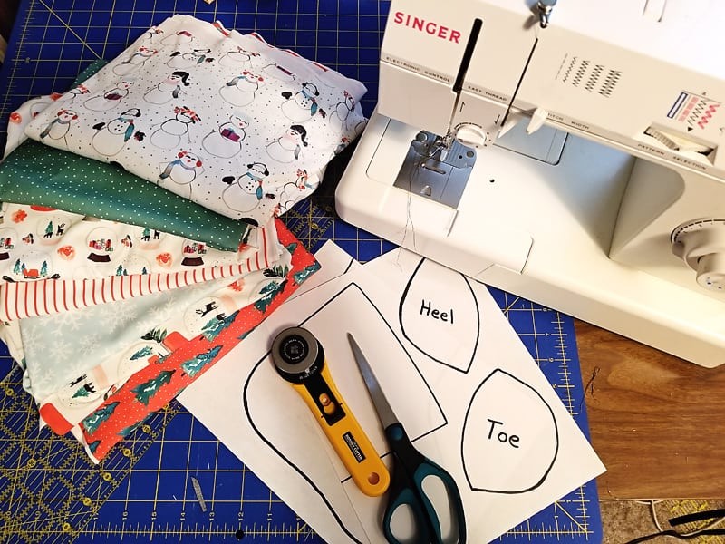 fabric sewing machine and Christmas stocking pattern