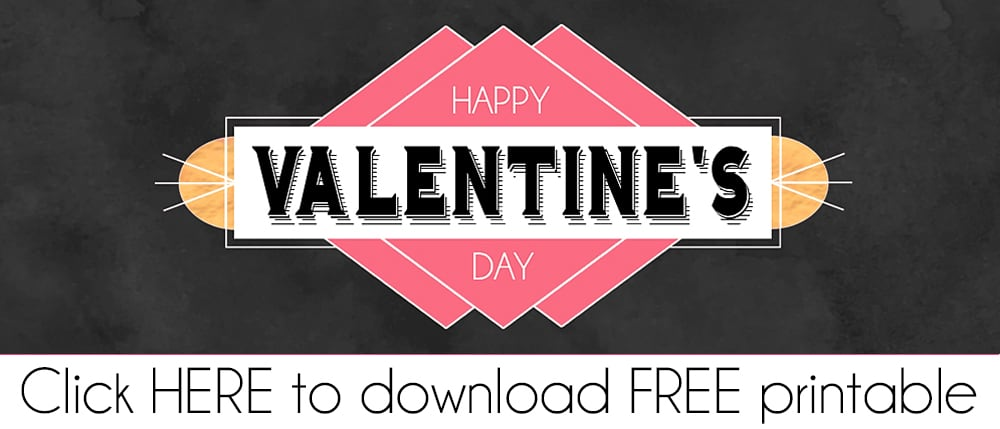 Modern Black Valentine FREE Printable Treat Bag Topper PDF Download