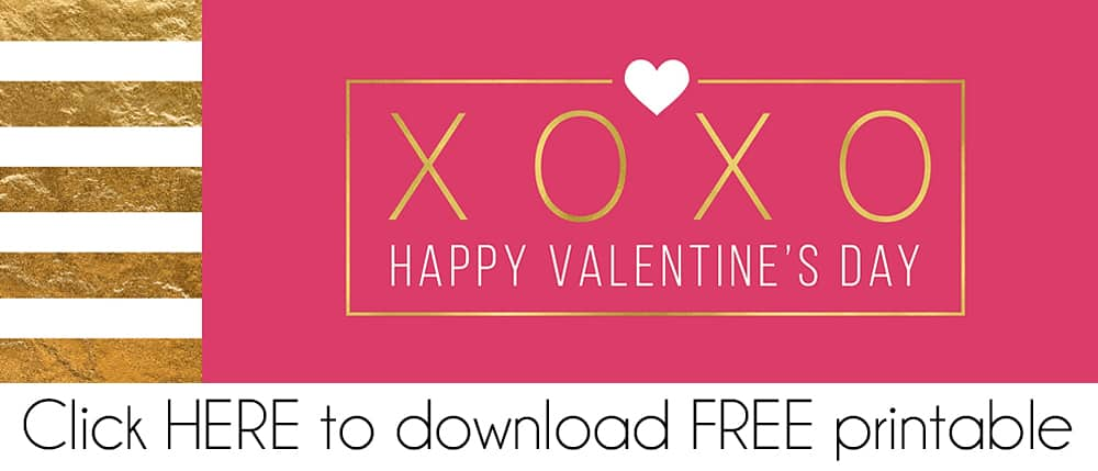 Striped Gold Valentine FREE Printable Treat Bag Topper Download