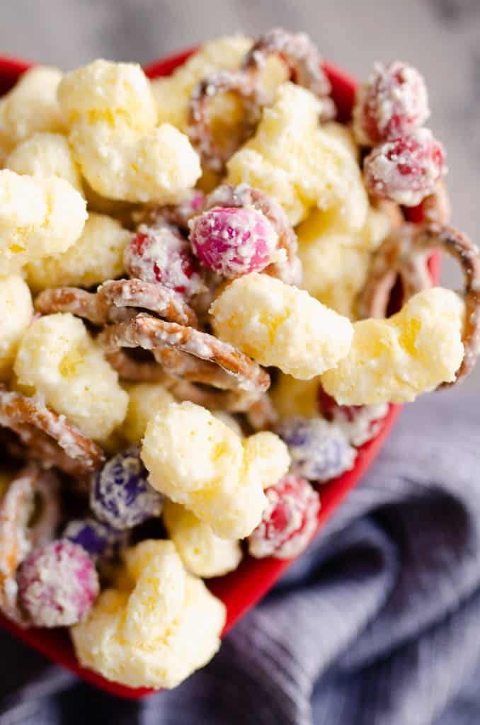 Sweet & Salty Puffcorn Snack Mix in valentine bowl