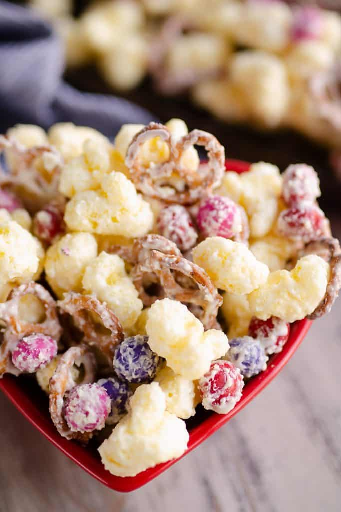 Sweet & Salty Puffcorn Snack Mix in served heart container
