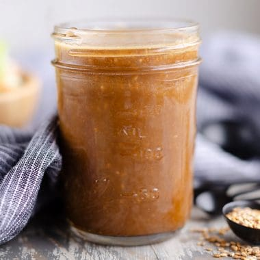 Toasted Sesame Asian Salad Dressing in mason jar