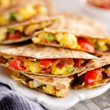 Turkey Bacon Breakfast Quesadilla served with salsa