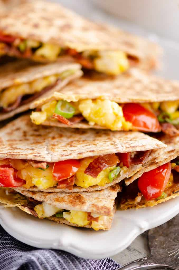 Turkey Bacon Breakfast Quesadilla stacked for brunch