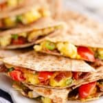 Turkey Bacon Breakfast Quesadilla served for brunch
