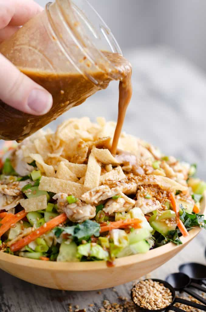 Asian Toasted Sesame Chicken Salad with homemade salad dressing