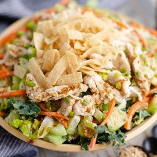 Asian Toasted Sesame Chicken Salad served in bowl