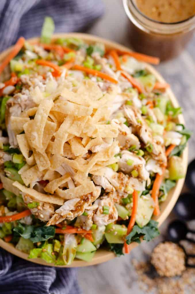 Asian Toasted Sesame Chicken Salad topped with wonton strips