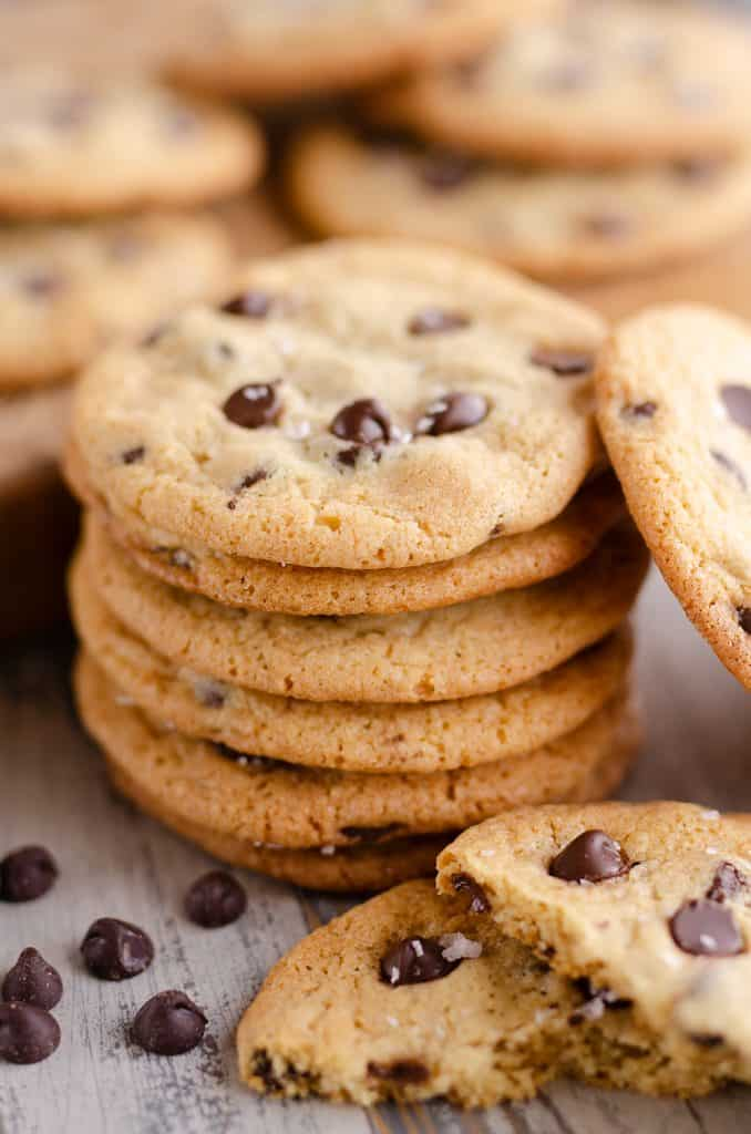 Best Chewy Chocolate Chip Cookie Recipe stacked