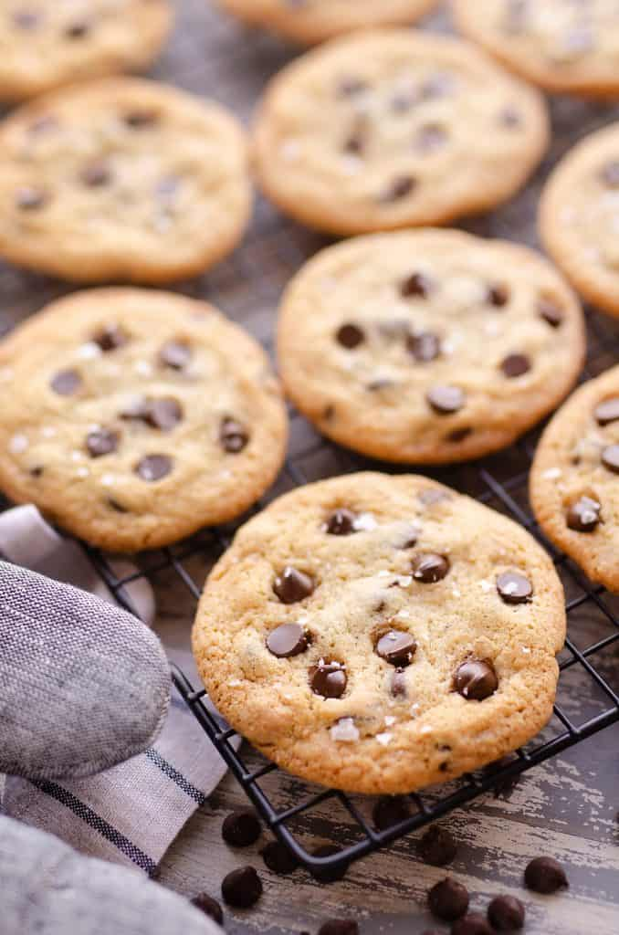 Best Chewy Chocolate Chip Cookie Recipe with oven mitt