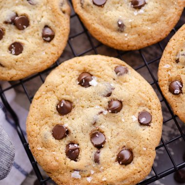 Best Chewy Chocolate Chip Cookie Recipe on cooling rack