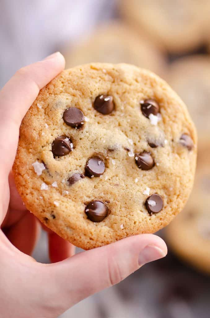 Best Chewy Chocolate Chip Cookie Recipe held in hand