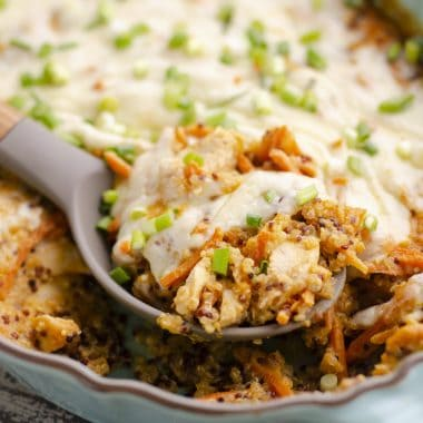 Buffalo Chicken Quinoa Bake in casserole