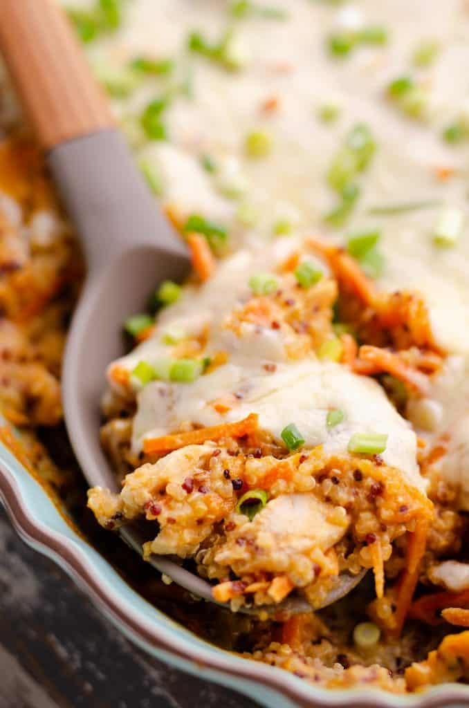 Buffalo Chicken Quinoa Bake scooped from casserole