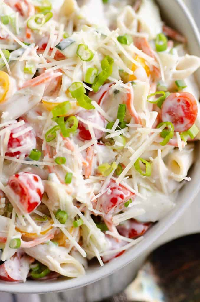 Light Parmesan Ranch Pasta Salad in serving bowl