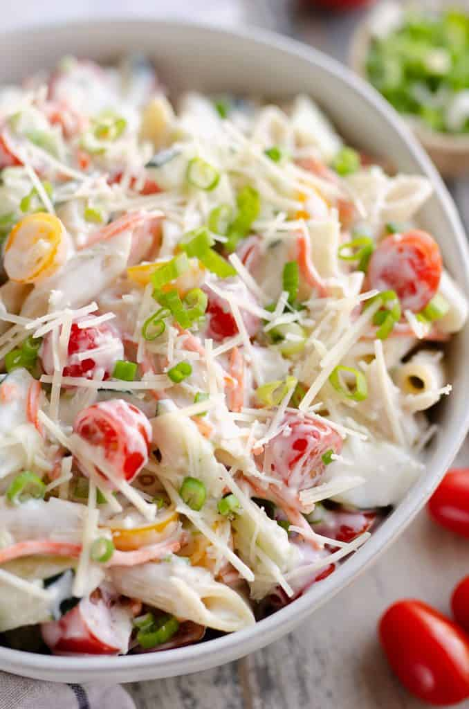 Light Parmesan Ranch Pasta Salad served in bowl