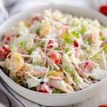 Light Parmesan Ranch Pasta Salad side dish served in bowl