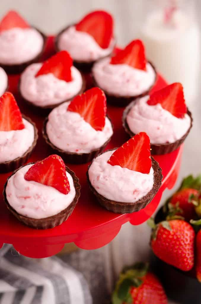 Strawberry Dark Chocolate Dessert Cups served on tray
