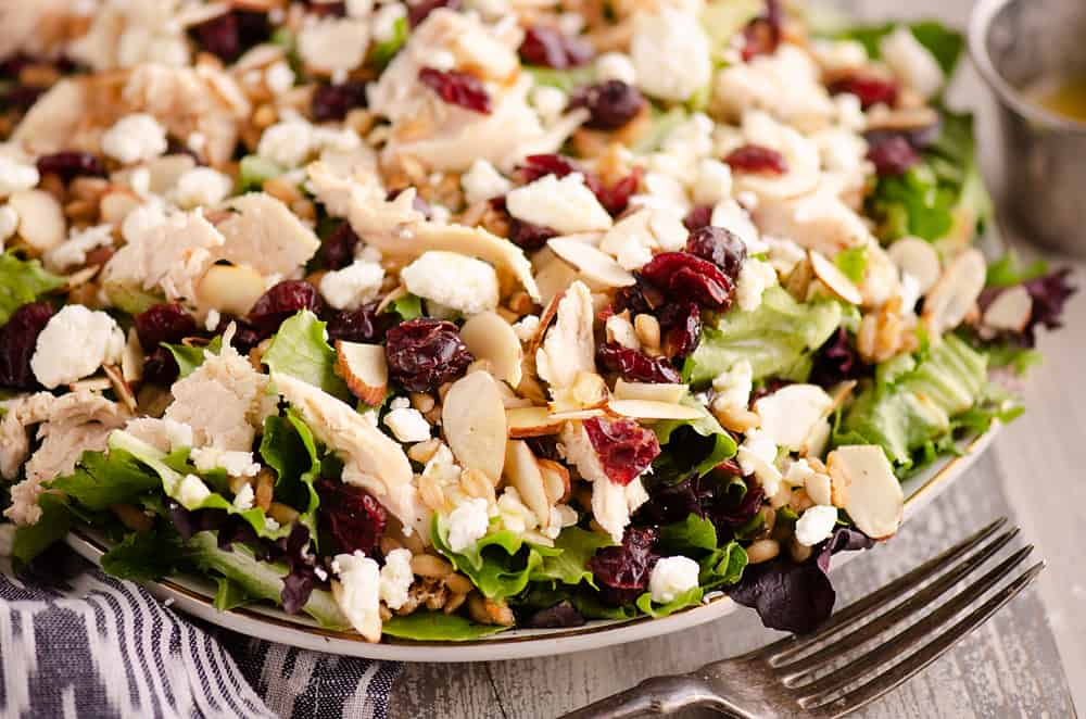 Cranberry Farro Chicken Salad served for dinner