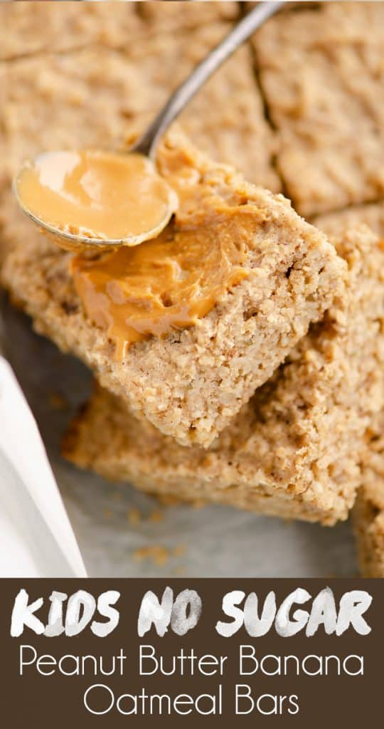 Kids No Sugar Peanut Butter Banana Oatmeal Bars recipe
