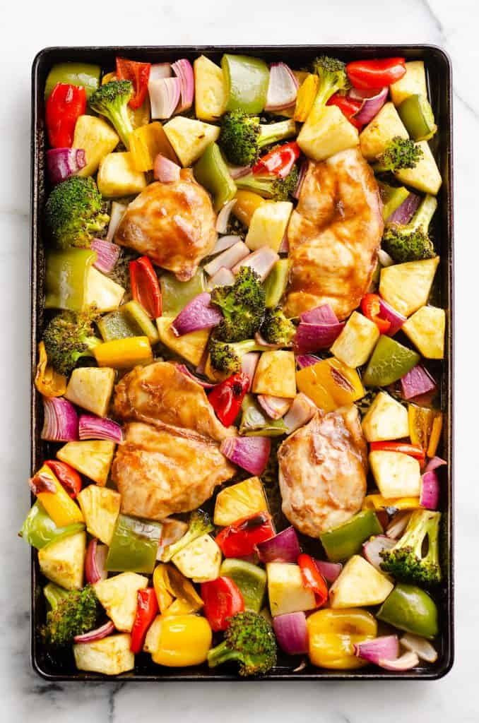 Pineapple Teriyaki Chicken Sheet Pan Recipe served on cookie sheet