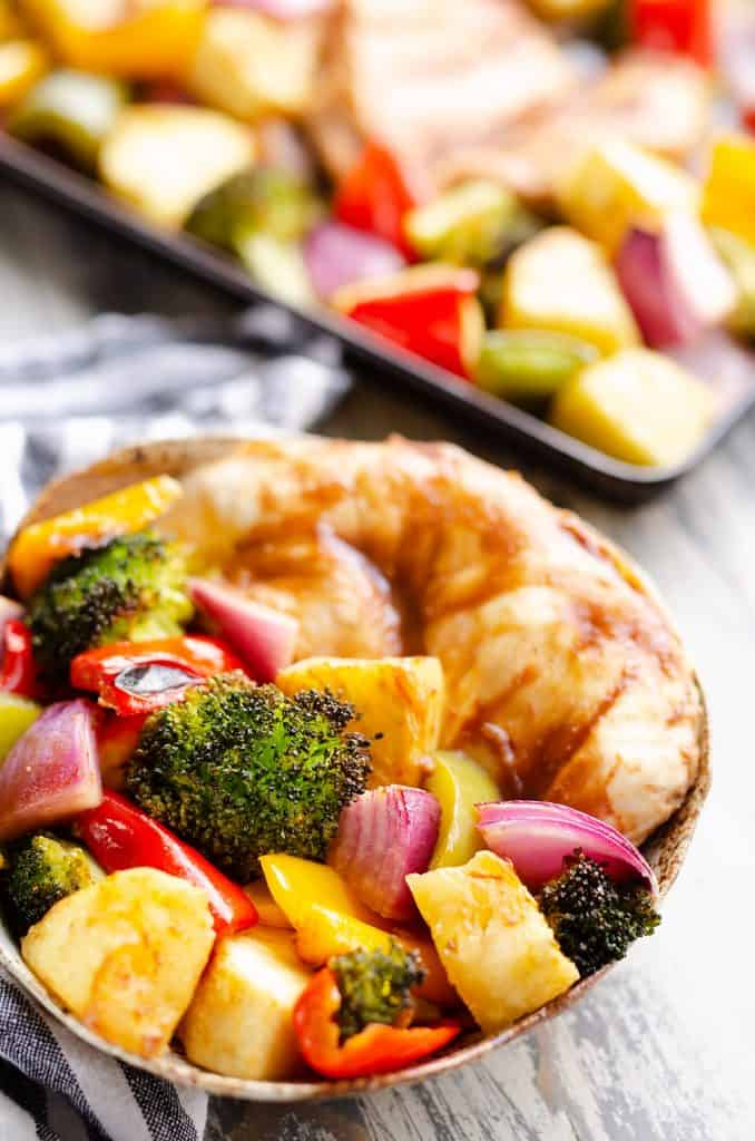 Pineapple Teriyaki Chicken Sheet Pan Recipe served in a bowl