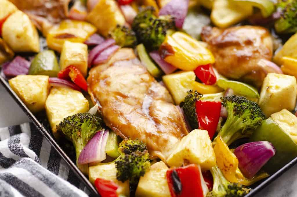 Pineapple Teriyaki Chicken Sheet Pan Recipe on cookie sheet