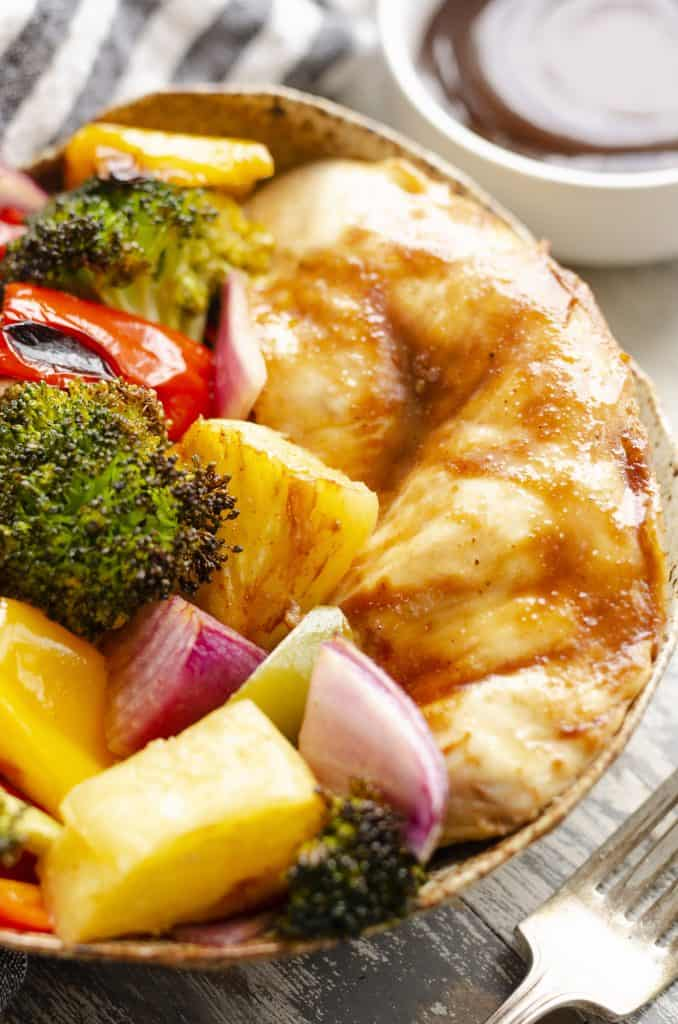 Pineapple Teriyaki Chicken Sheet Pan Recipe in a bowl