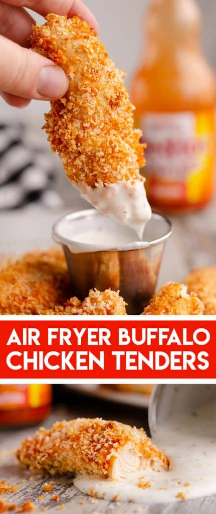 Air Fryer Buffalo Chicken Strips baked in Airfryer