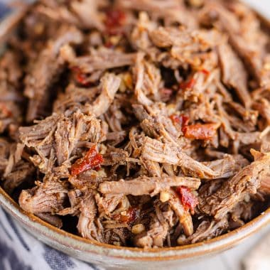 Chipotle Garlic Pressure Cooker Shredded Beef in bowl
