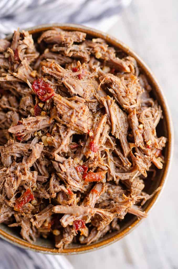 Chipotle Garlic Pressure Cooker Shredded Beef serving