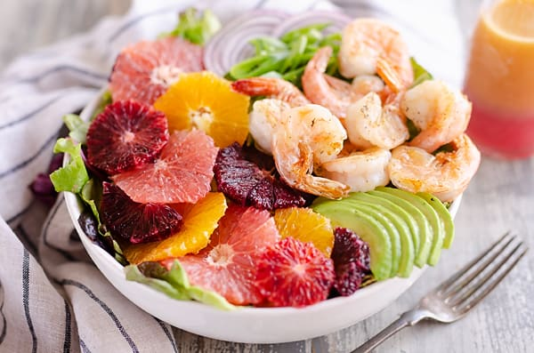 Citrus Shrimp Salad with citrus dressing