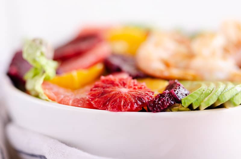 Citrus Shrimp Salad in white bowl
