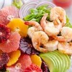 Citrus Shrimp Salad with avocado and vegetables