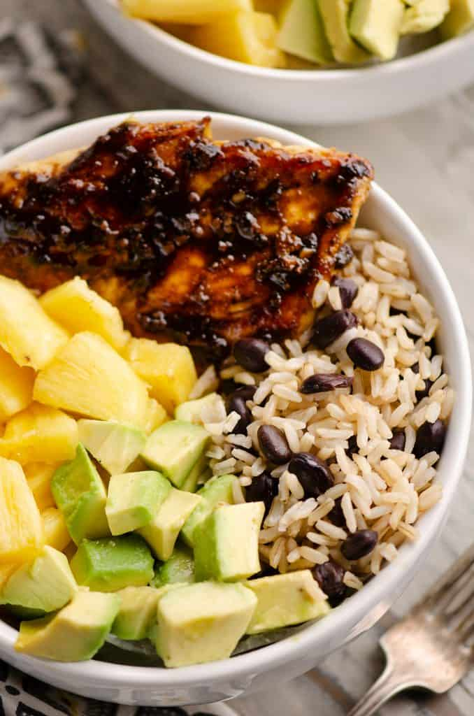 Cuban Chicken Rice Bowl Dinner Served in Bowl