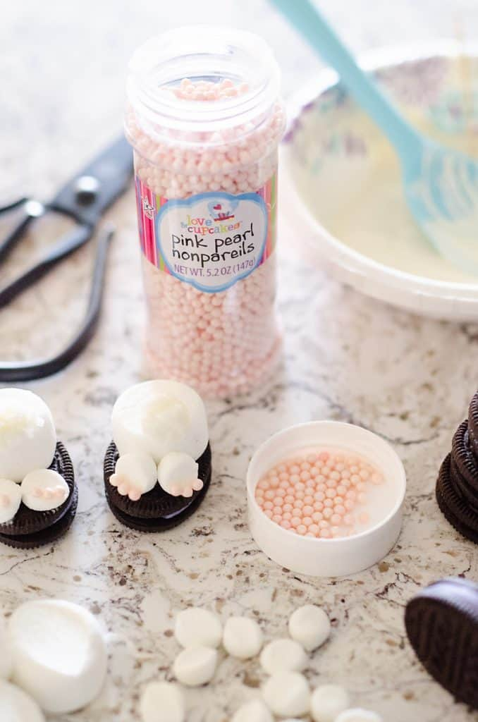 Easter Bunny Butt No Bake Treats Assembly with Sprinkles
