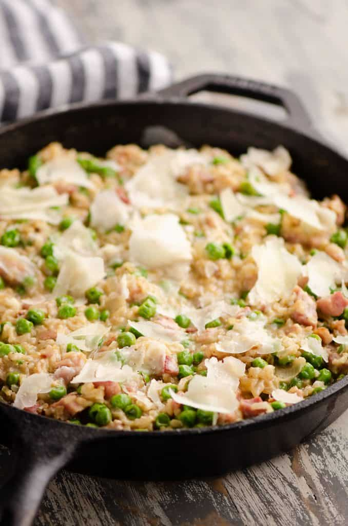 One Pot Cheesy Ham & Rice Skillet Recipe prepared in cast iron pan