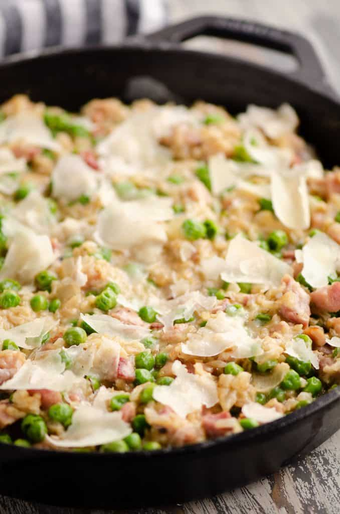 One Pot Cheesy Ham & Rice Skillet Recipe made in cast iron skillet
