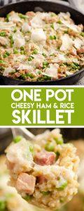One Pot Cheesy Ham & Rice Skillet