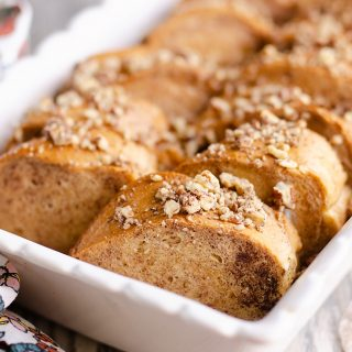 Cinnamon Pecan Overnight French Toast Casserole baked in pan