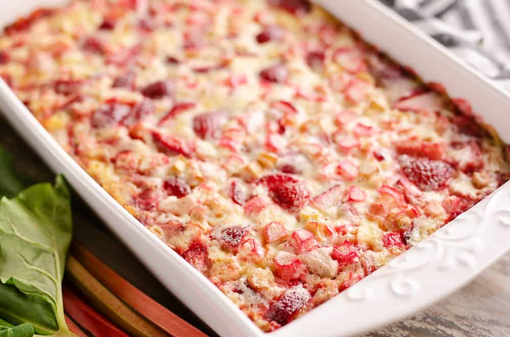 Strawberry Rhubarb Custard Dessert baked in pan